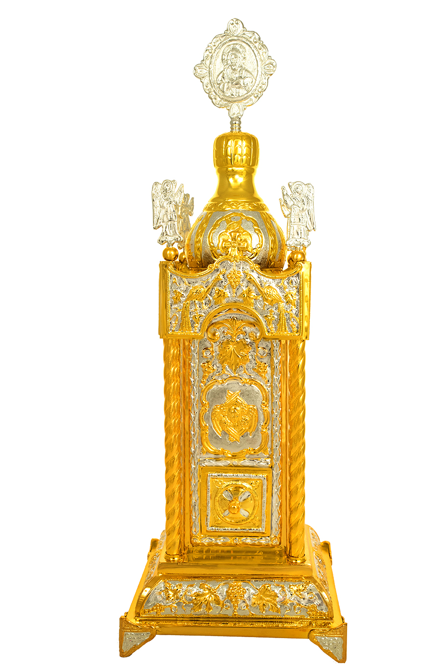 Holy Table Orthodox Tabernacle Rectanqular with Colums Metal Decorations Gold and Silver Plated
