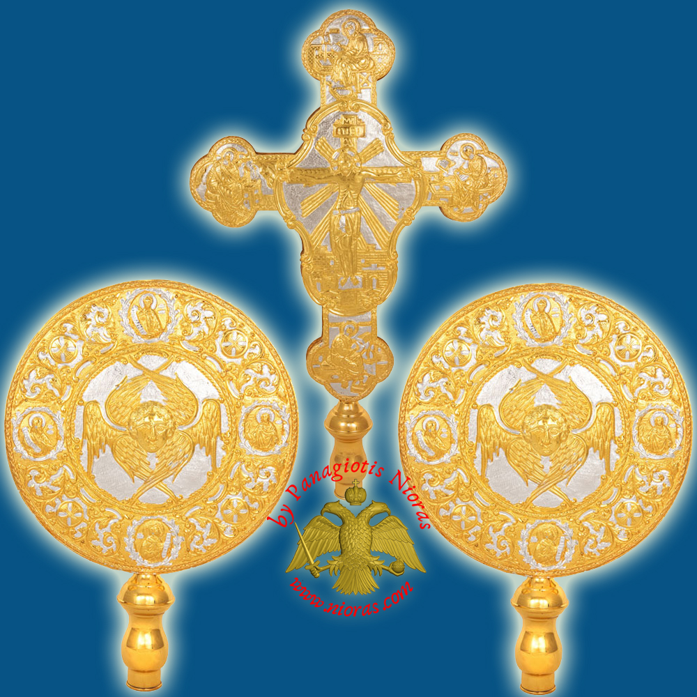 Ecclesiastical Exapterigon Set Big Cherubims Gold and Silver Plated