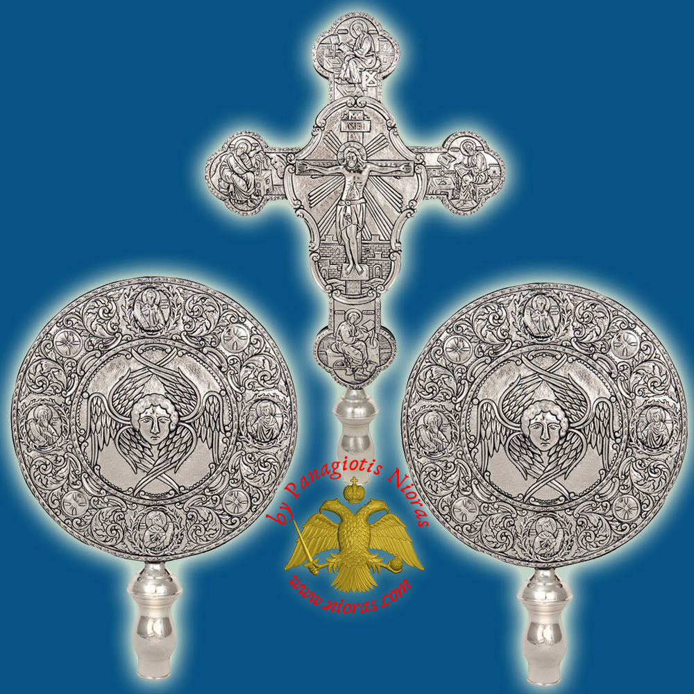Ecclesiastical Exapterigon Set Big Cherubims Silver Plated