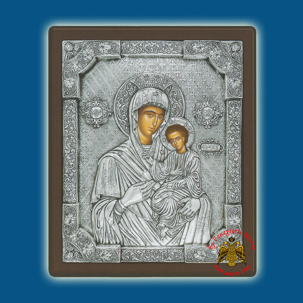 Holy Virgin Mary Theotokos Panagia Hodegetria Silver Holy Icon