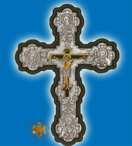 Byzantine Style Orthodox Silver 925 Cross Hand Made Christ on Canvas 19x28cm