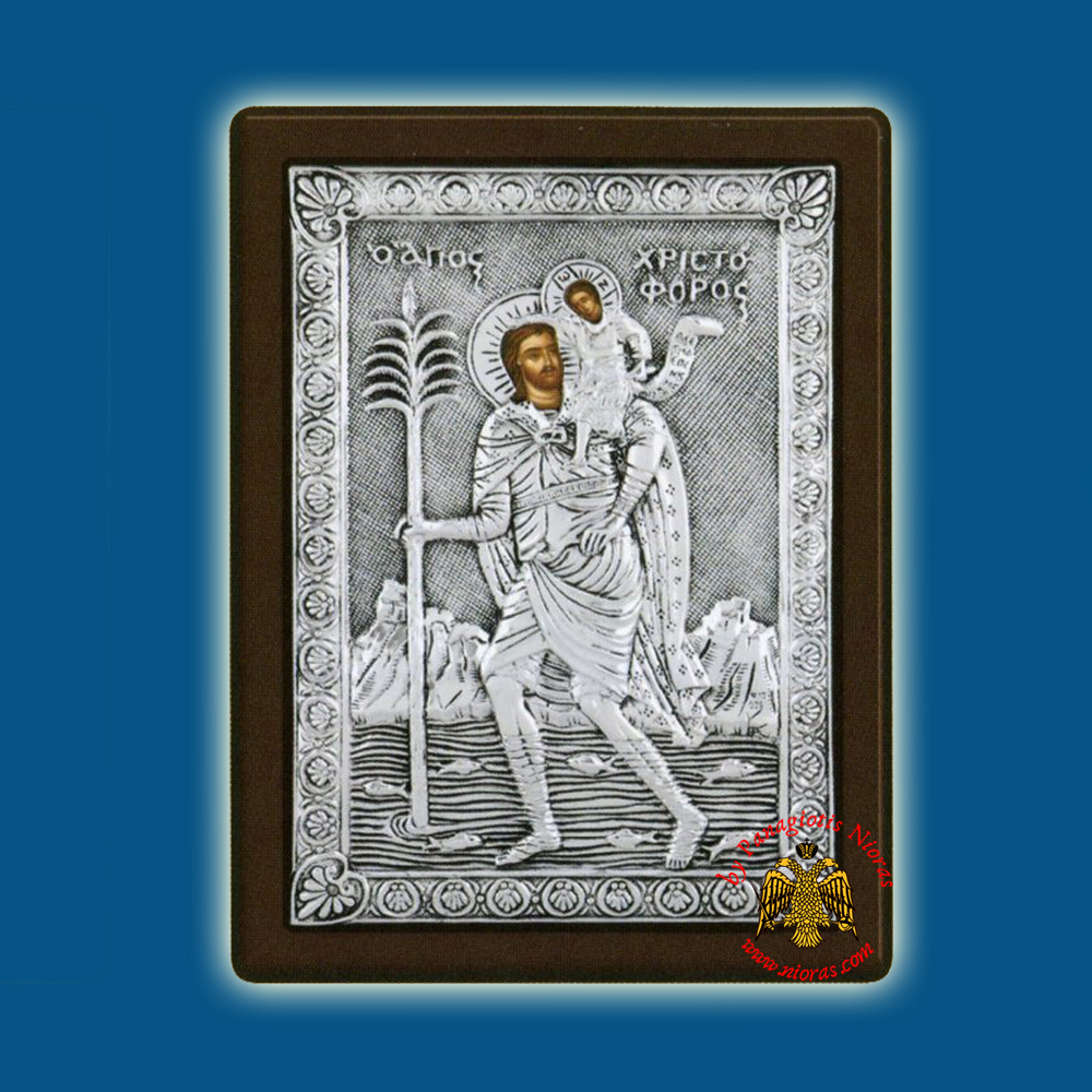 Saint Christopher Silver Holy Icon