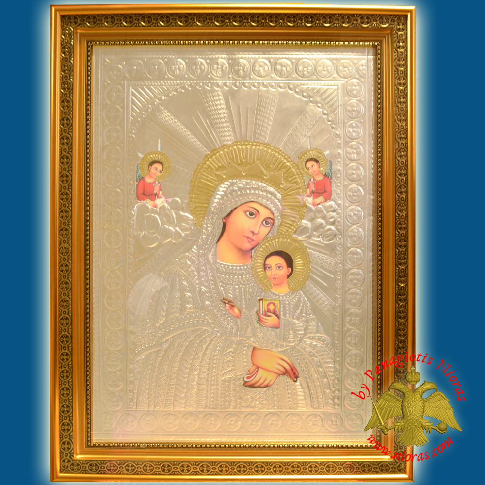 Holy Icon of Theotokos Panagia with Glass Wooden Frame