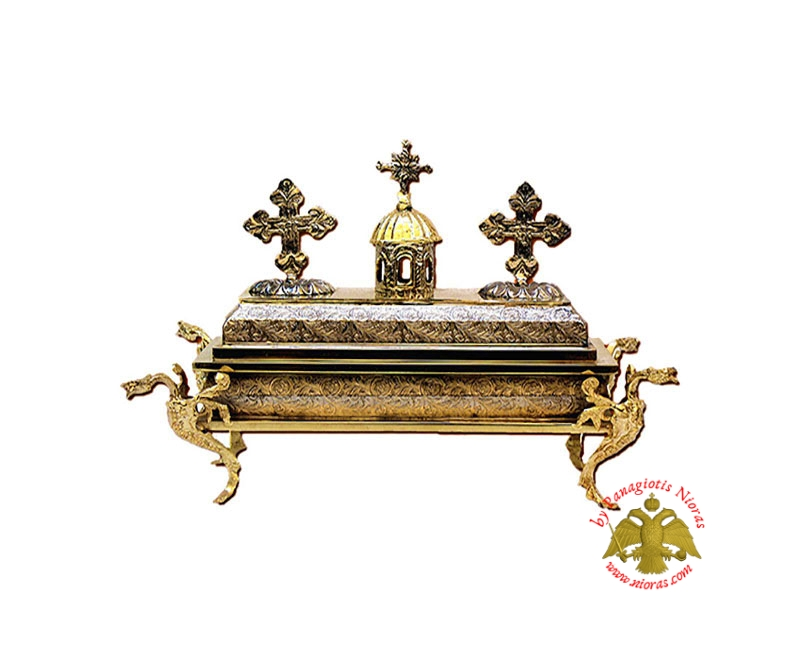Reliquary Box Church Style Gold Plated with Opening Lid 20x20x20cm