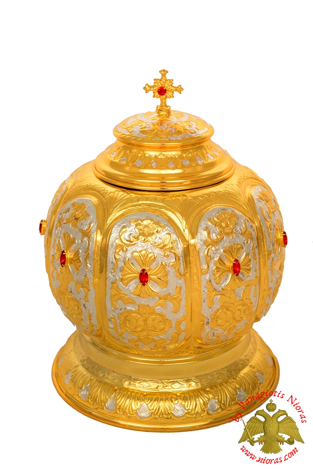 Reliquary Crown Box Gold Plated with Opening Lid h:28 d:21cm