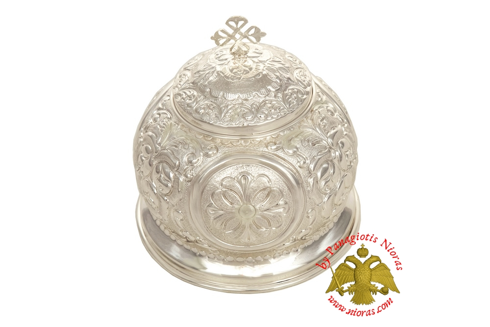 Reliquary Crown Box Silver Plated with Opening Lid h:20 d:17cm