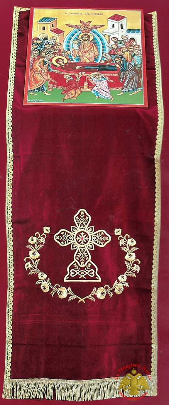 Orthodox Iconostasis Velvet Cover with Golden Cross Embroidery