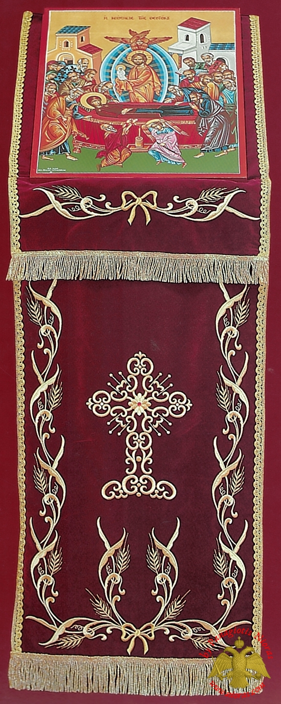 Orthodox Iconostasis Velvet Cover with Golden Cross and Wheat Ears Embroidery