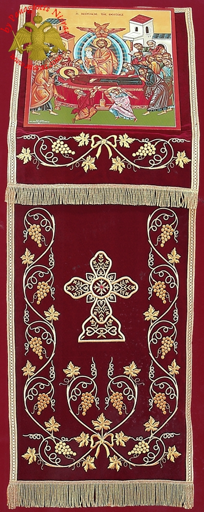 Orthodox Iconostasis Velvet Cover with Golden Cross, Grapes and Wheat Ears Embroidery