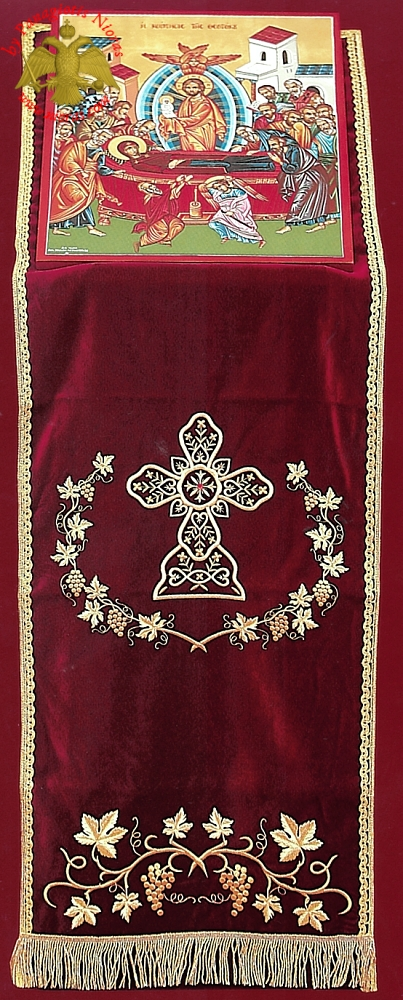 Orthodox Iconostasis Velvet Cover with Golden Cross and Grapes Embroidery