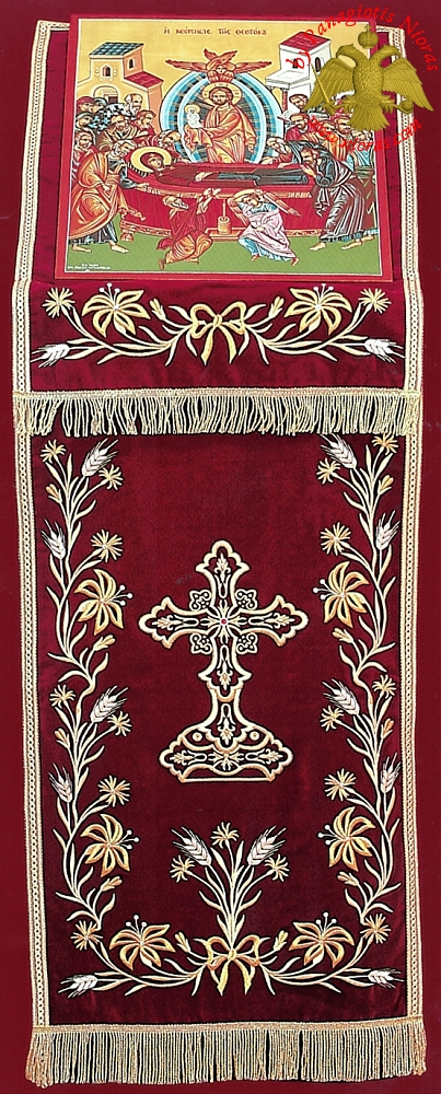 Orthodox Iconostasis Velvet Cover with Golden Cross and Flowers Embroidery