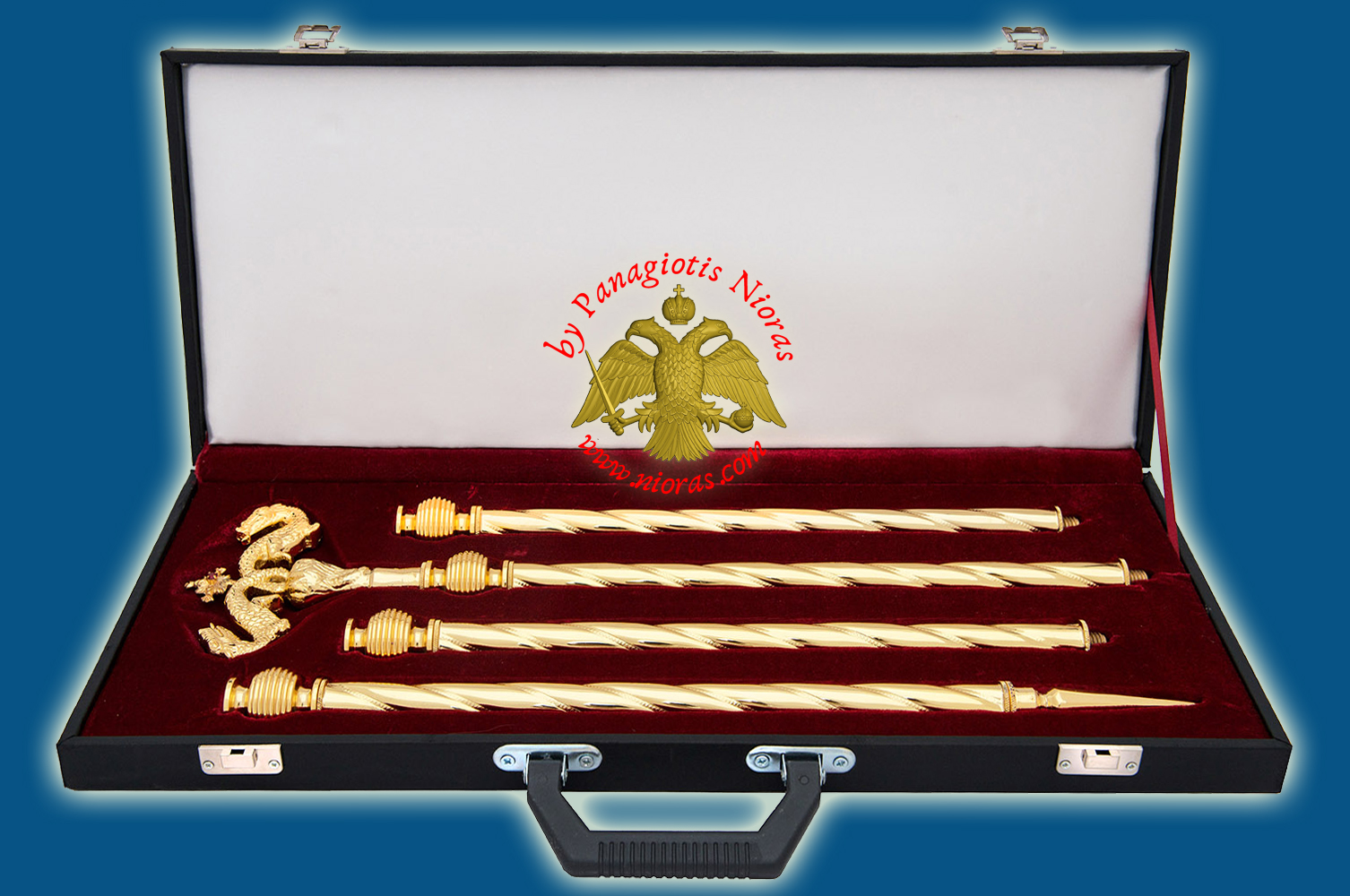 Orthodox Bishop Crosier with Leather Suitcase Gold Plated