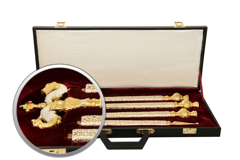 Orthodox Bishop Crosier with Leather Suitcase Gold and Silver Plated