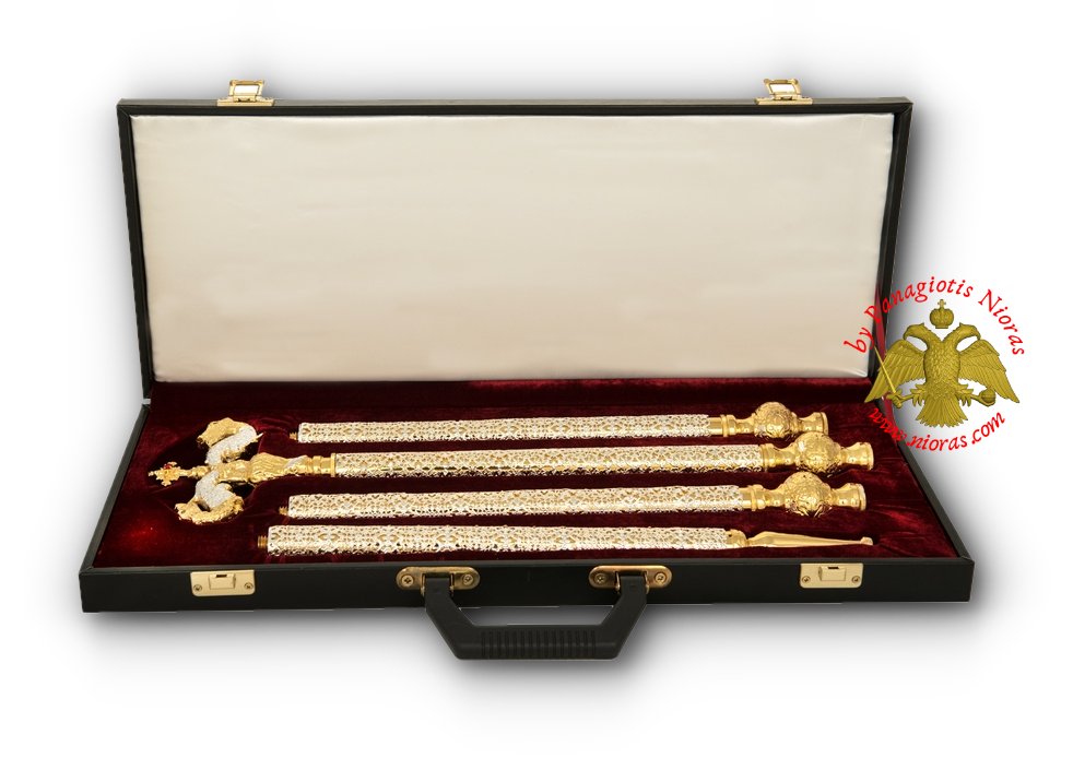 Orthodox Bishop Crosier with Leather Suitcase Silver & Gold Plated