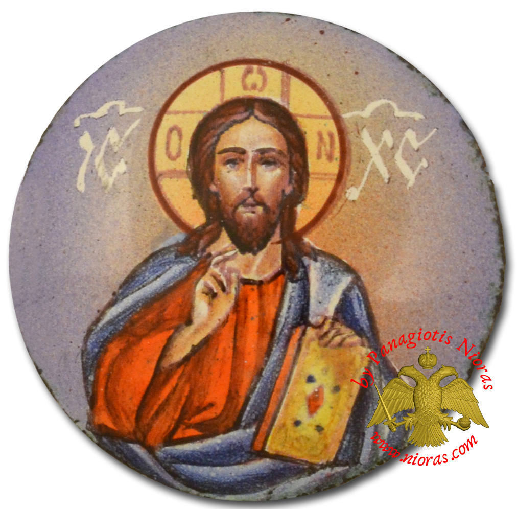 Orthodox Enamel Jesus Christ Blessing Holy Icon 3x3cm