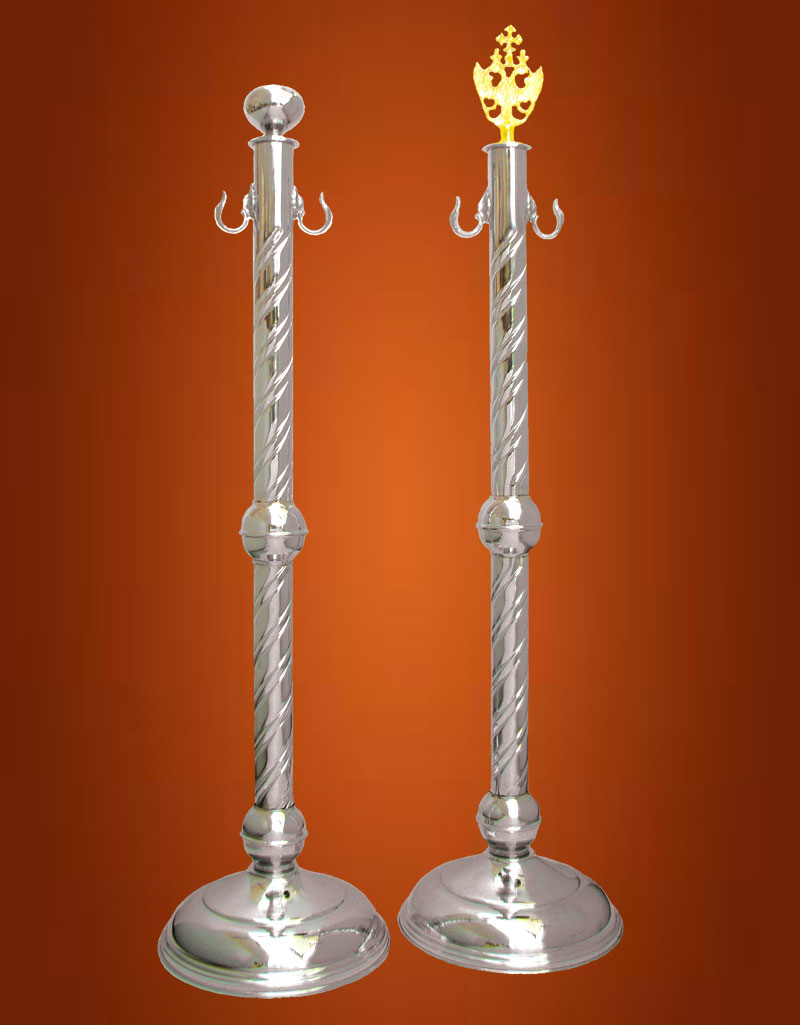 Orthodox Church Aisle Cord Stand Chrome Simple Base Ball in the Top