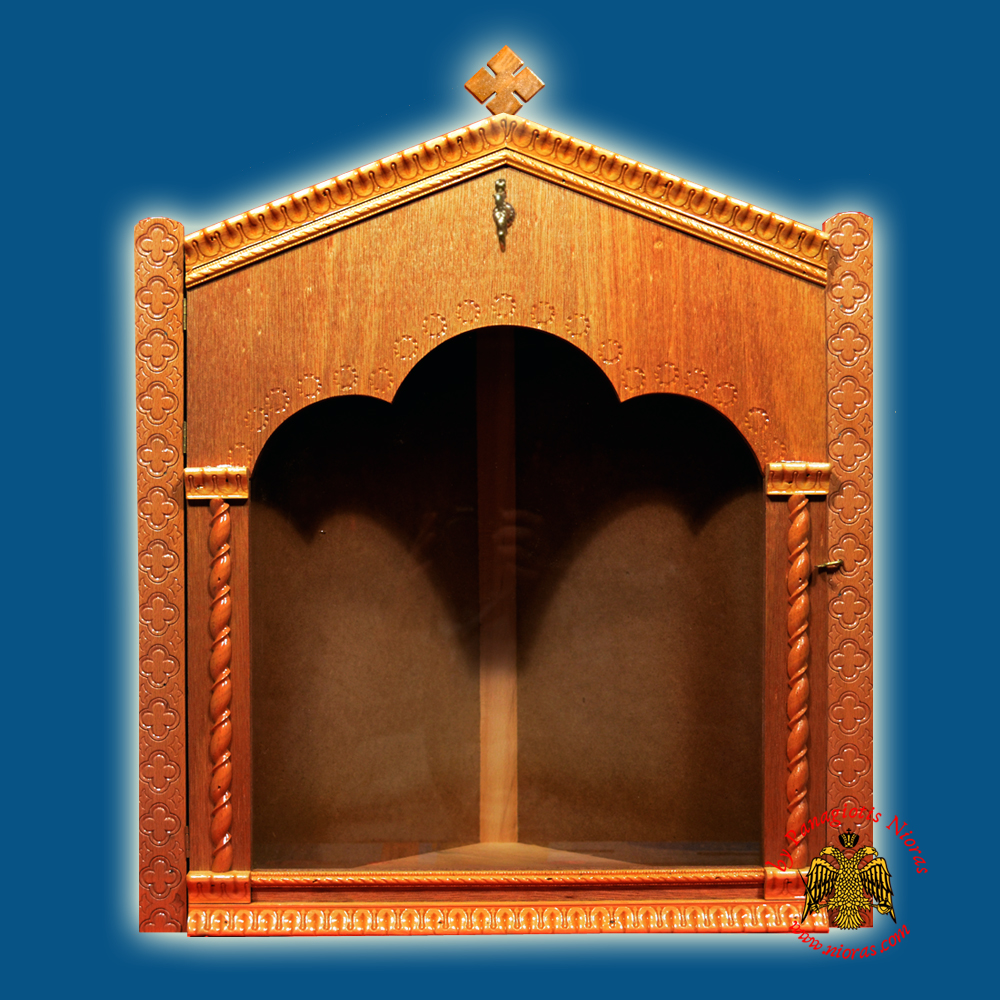 Iconostasis Icon Wooden Case Corner C Natural Coloured Natural Polished Color Brown
