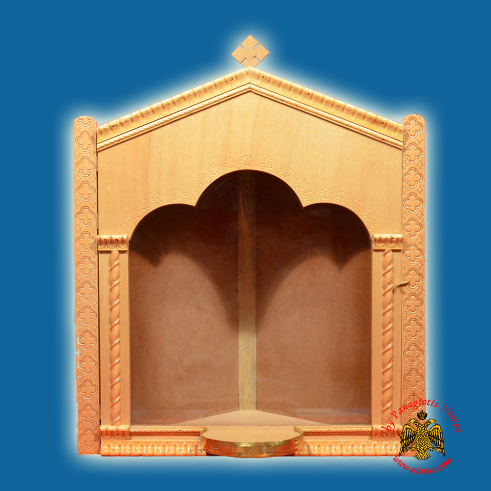Iconostasis Icon Wooden Case Corner C With Base For Oil Candle Natural Polished Color