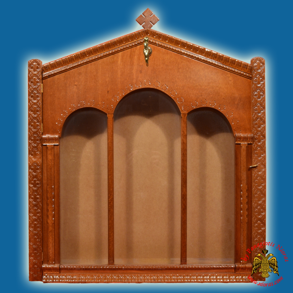 Iconostasis Icon Wooden Case Flat A' with Columns Brown Polished Color