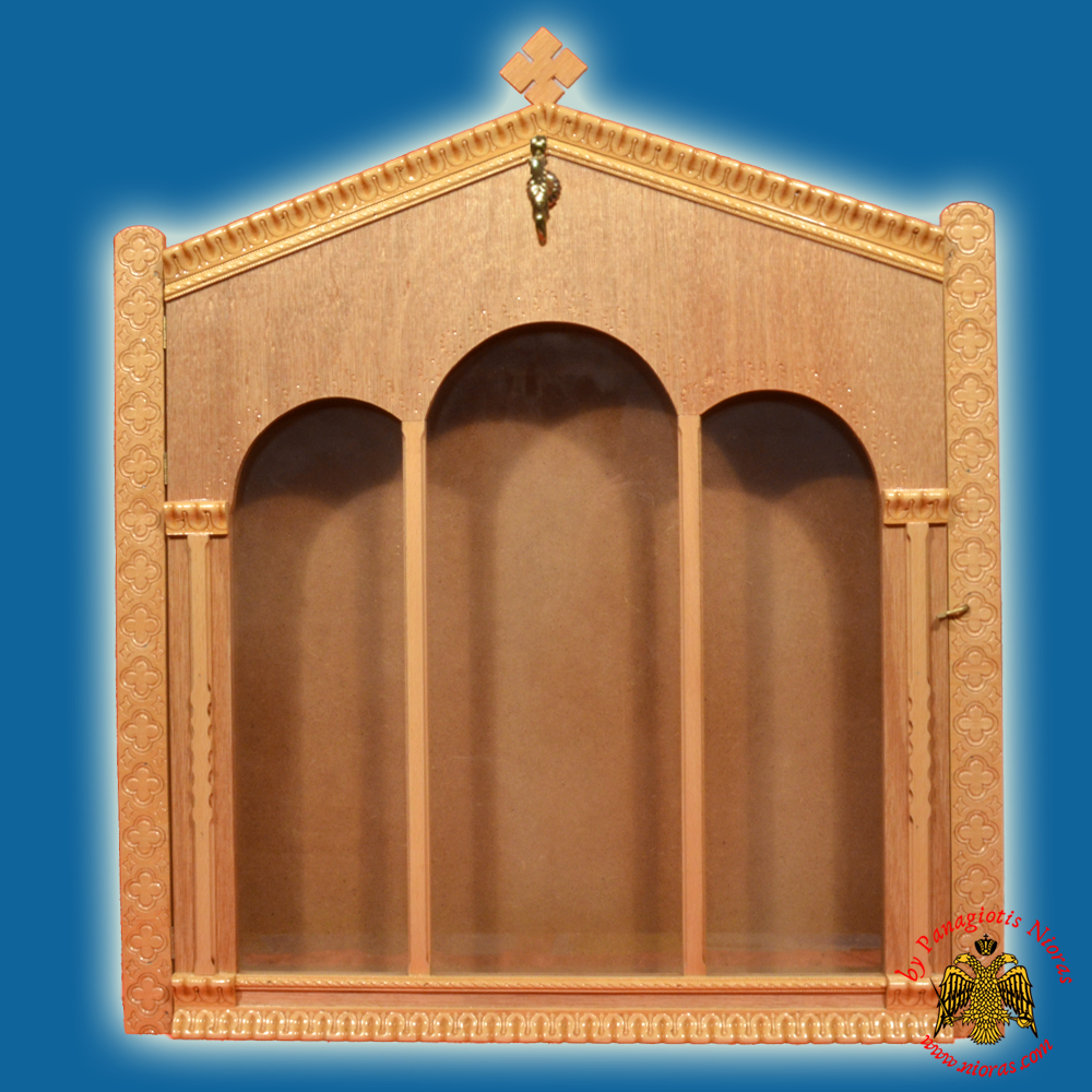 Iconostasis Icon Wooden Case Flat A' with Columns Natural Polished Color