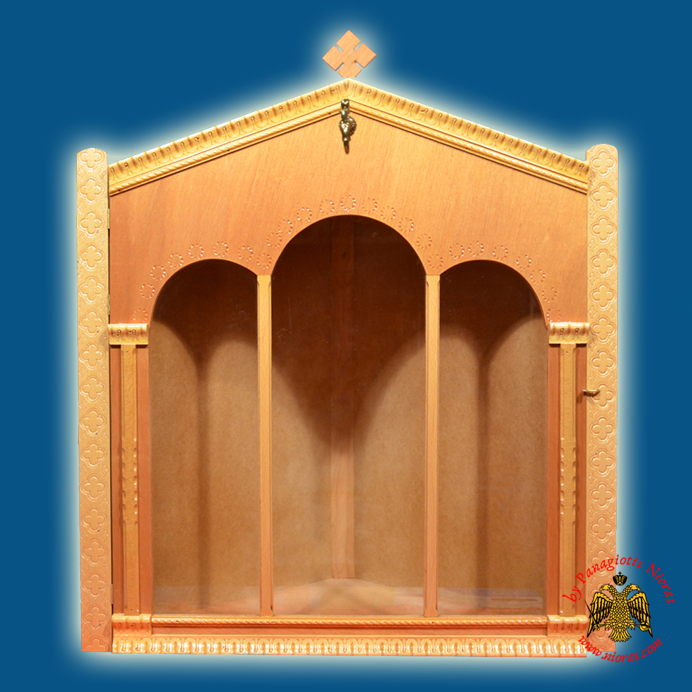 Iconostasis Icon Wooden Case Corner with Columns Natural Polished Color