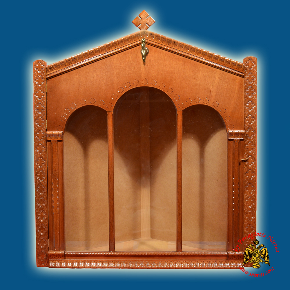 Iconostasis Icon Wooden Case Corner with Columns Brown Polished Color