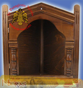 Wooden Icon Case Corner Natural Wood A Dark Coloured