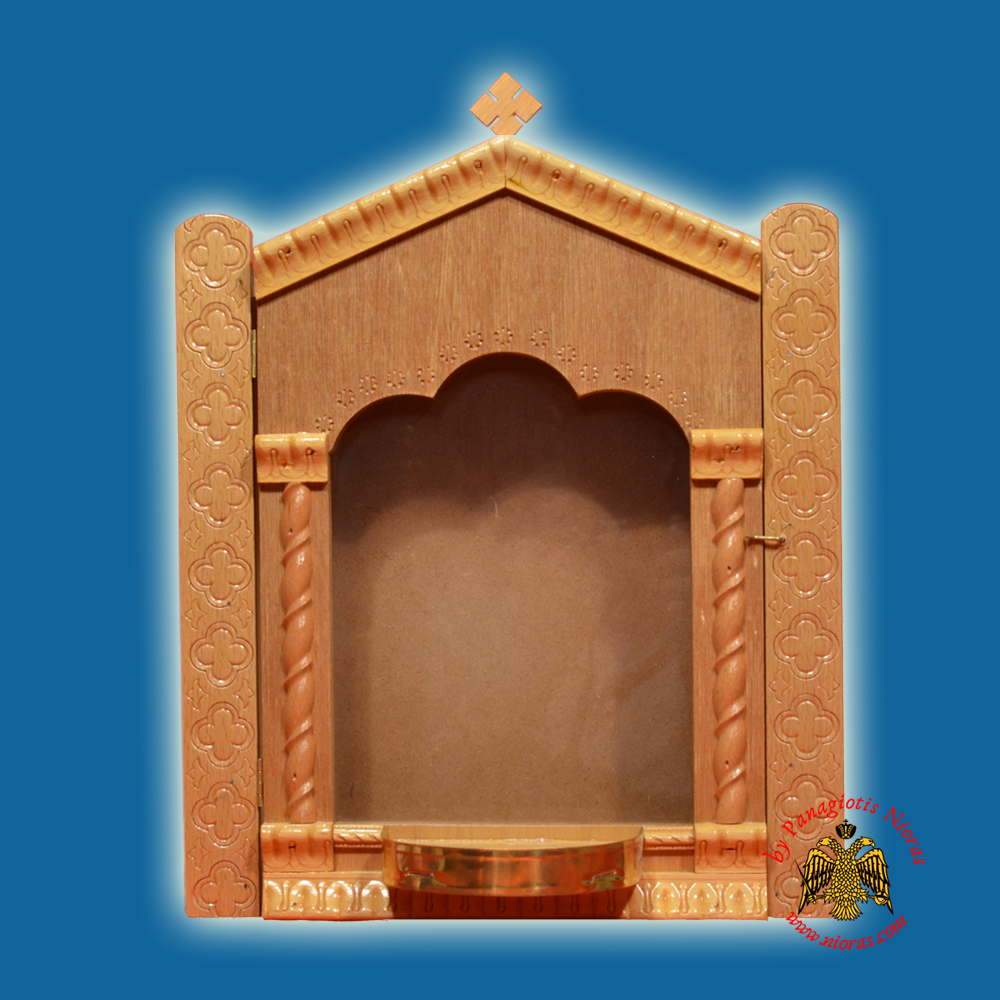 Iconostasis Icon Wooden Case Flat D With Base for Oil Candle Natural Polished Color