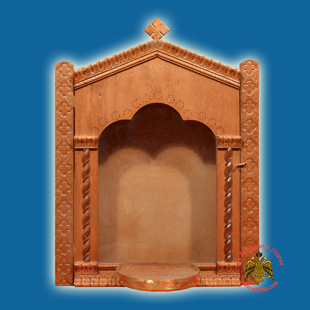 Iconostasis Icon Wooden Case Flat D With Base for Oil Candle