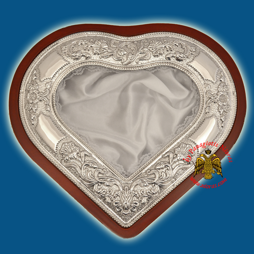 Heart Wedding Crown Metal Decoration Wooden Case