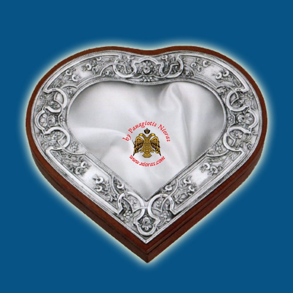 Silver Wedding Crown Box Design A Heart Shape