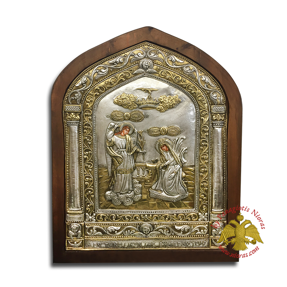 Annunciation of Tinos Silver Icon Copy of the Original 50x70cm