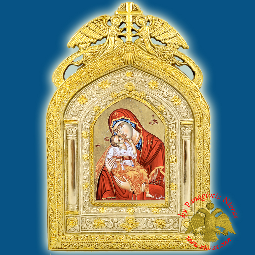 Angels Frame Holy Icon of Theotokos Panagia Paper Icon