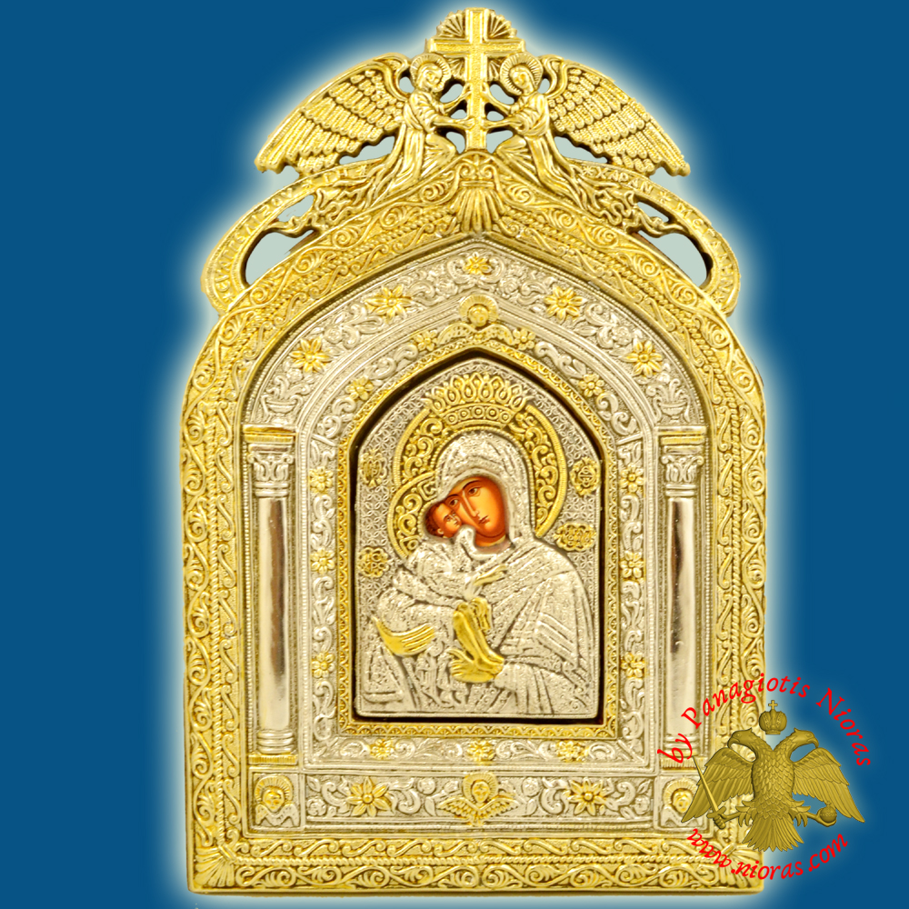 Holy Icon of Theotokos Panagia with Angels Frame 14x20cm