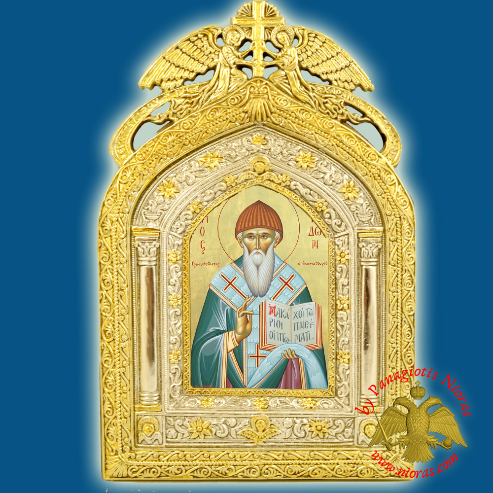 Angels Frame Holy Icon of Saint Spyridon Paper Icon