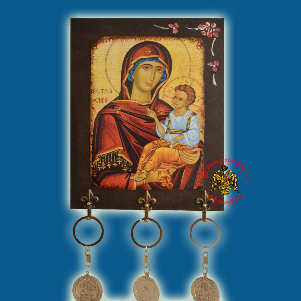Orthodox Wooden Icons with Key Holders 14x10cm