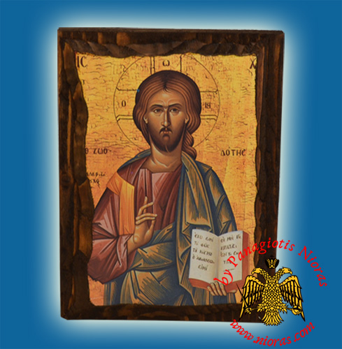Byzantine Wooden Icon Christ Light Giver