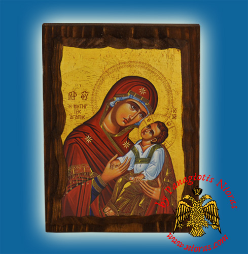 Byzantine Wooden Icon Panagia of Love