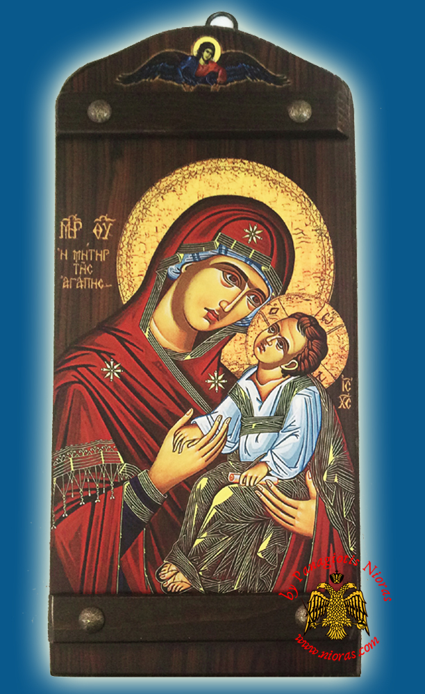 Byzantine Wooden Icon of Holy Virgin Mary of Love With Angel in the TopCenter