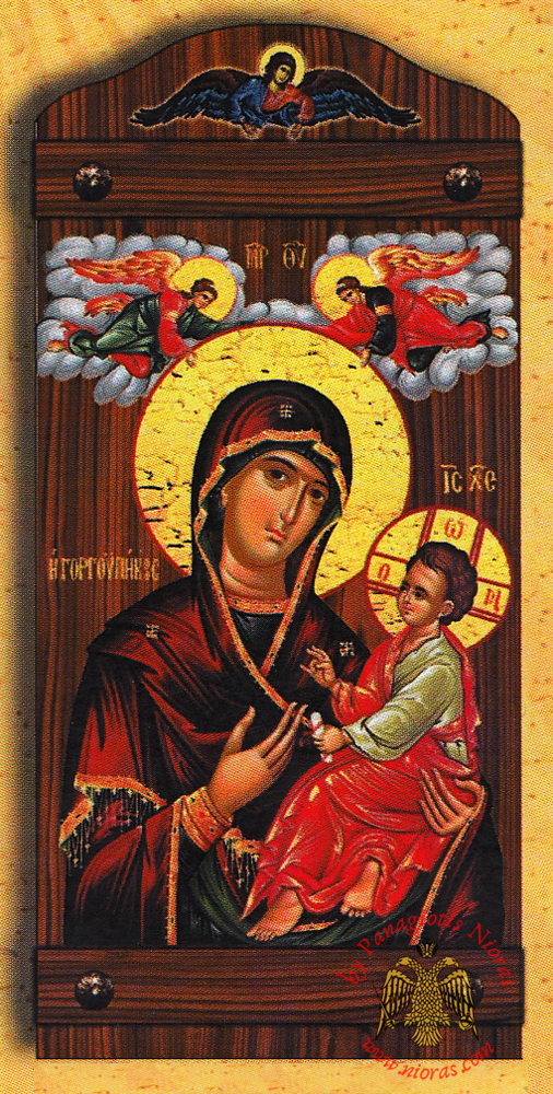 Byzantine Wooden Icon of Holy Virgin Mary Gorgoepikoos With Angel in the TopCenter