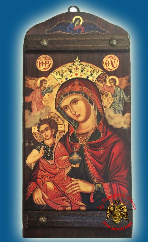 Byzantine Wooden Icon of Holy Virgin Mary of Corfu With Angel in the TopCenter