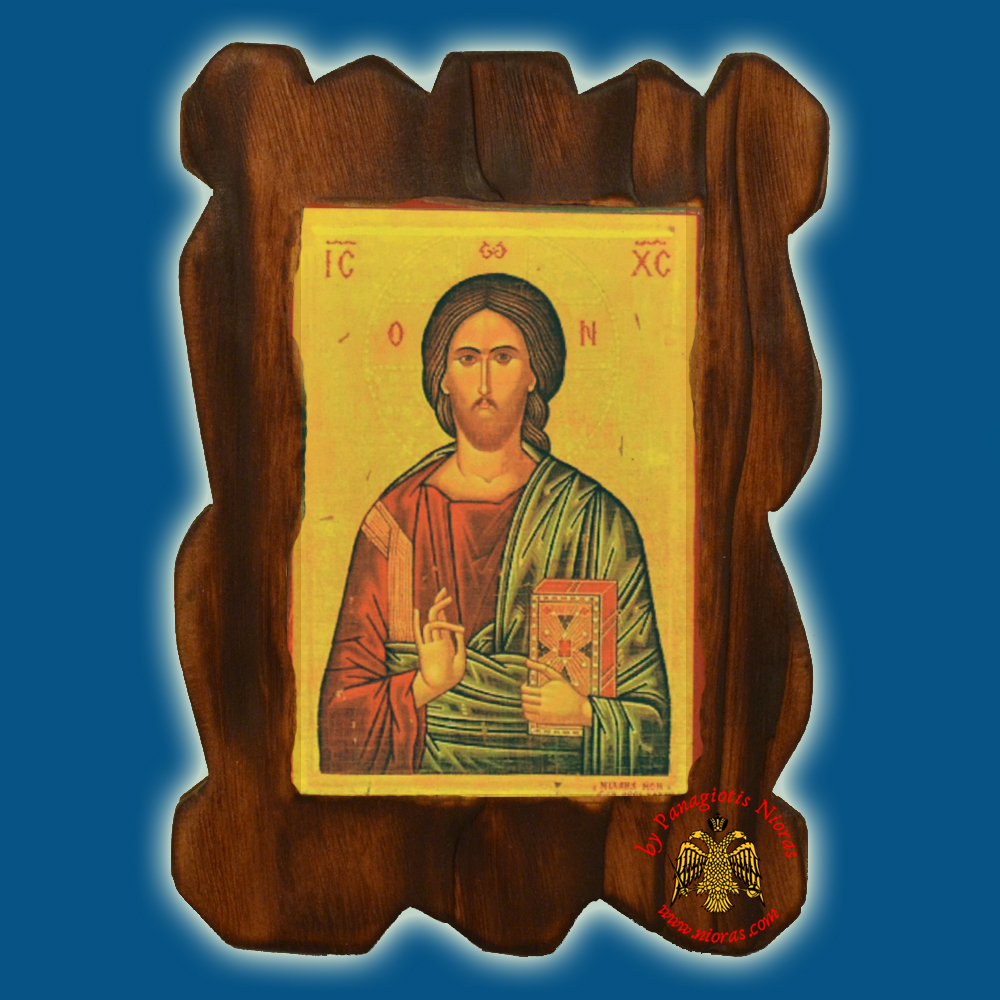 Orthodox Wooden Icon of Blessing Christ on Natural Wood With Burned Carved Details