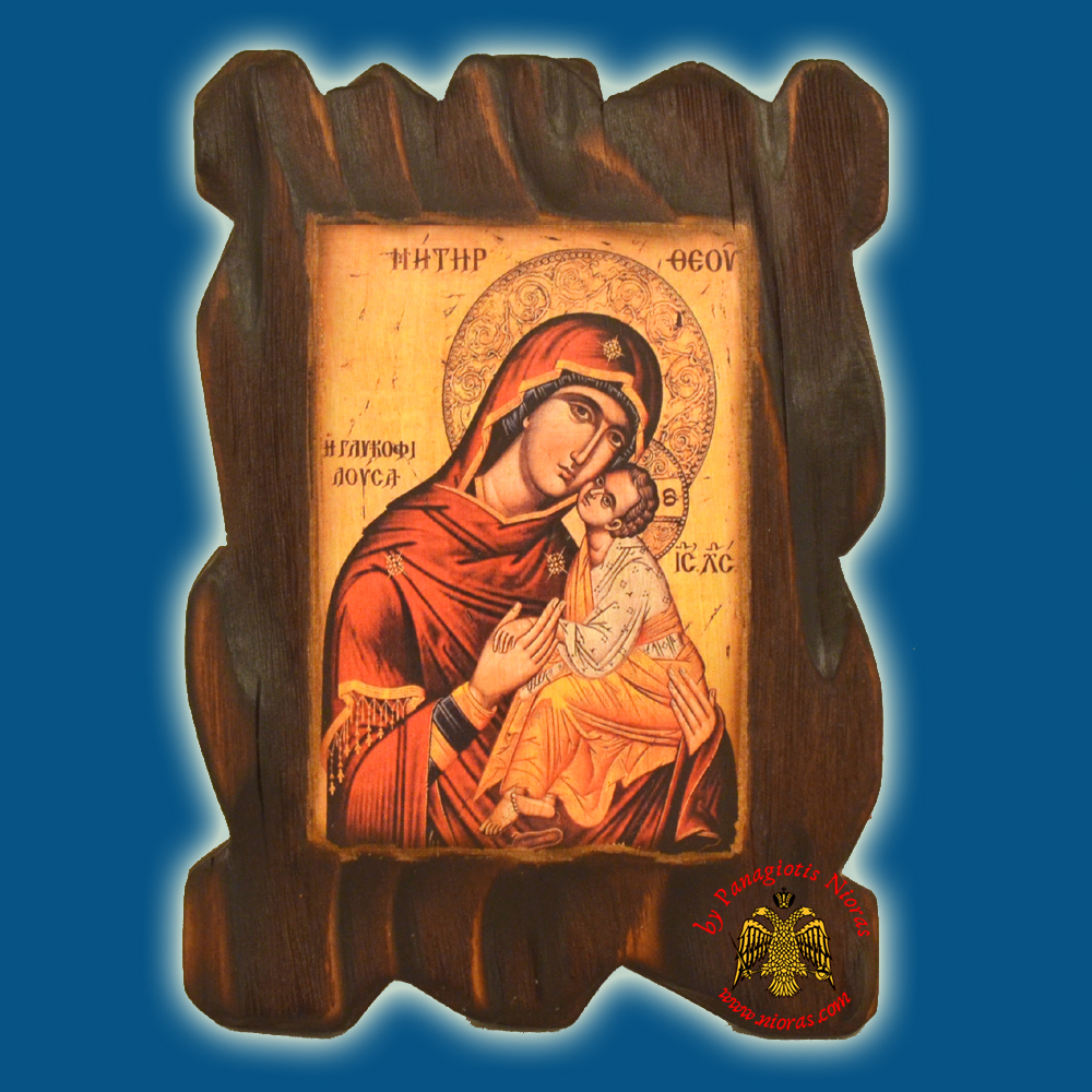 Orthodox Wooden Icon of Holy Theotokos Carved Wood With Burned Page