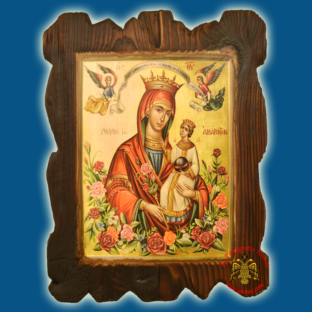 Orthodox Wooden Icon of Rodon Amaranton on Natural Wood With Burned Carved Details