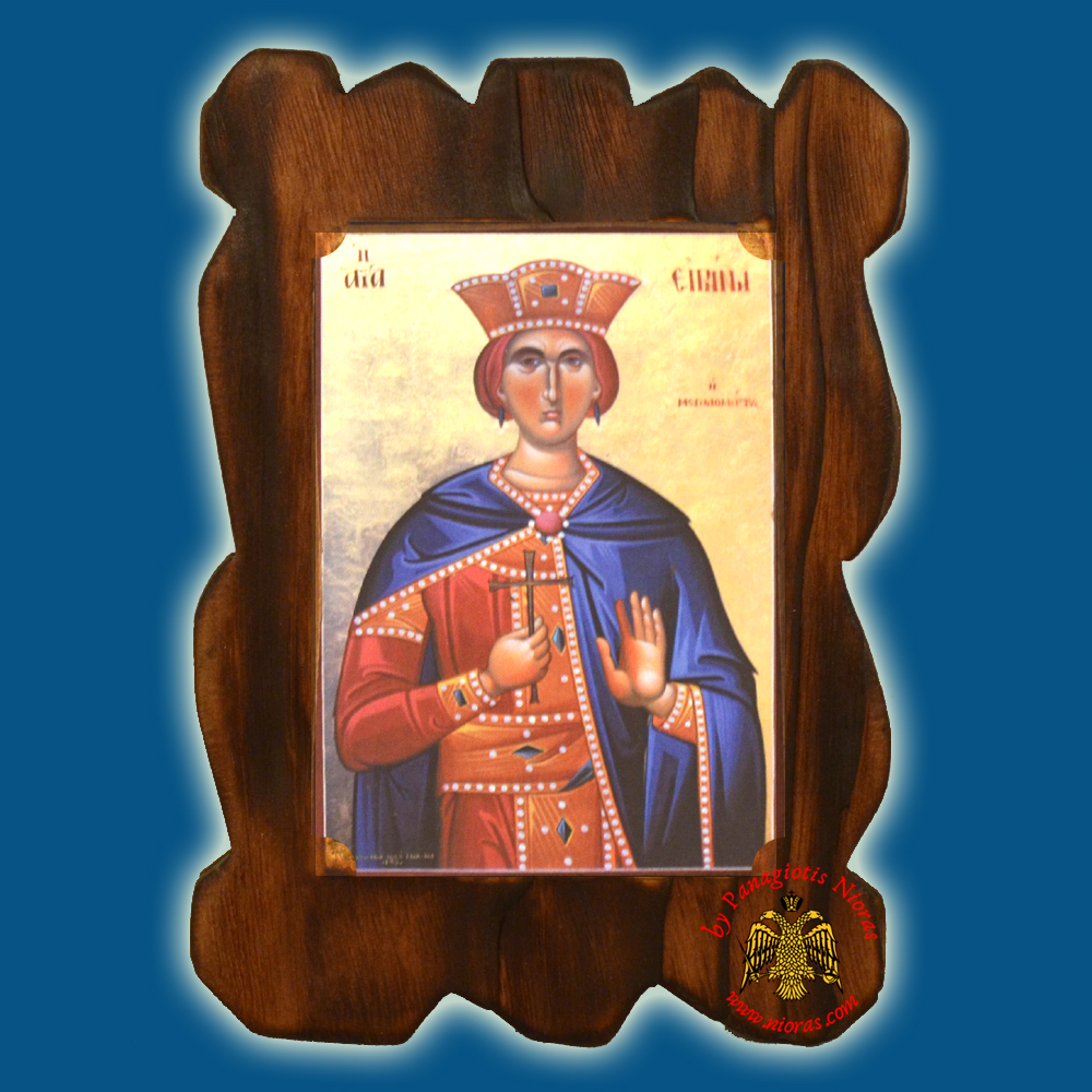 Orthodox Wooden Icon of Saint Eirini on Natural Wood With Burned Carved Details