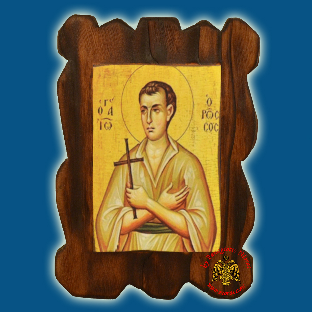 Orthodox Wooden Icon of Saint John Russian on Natural Wood With Burned Carved Details