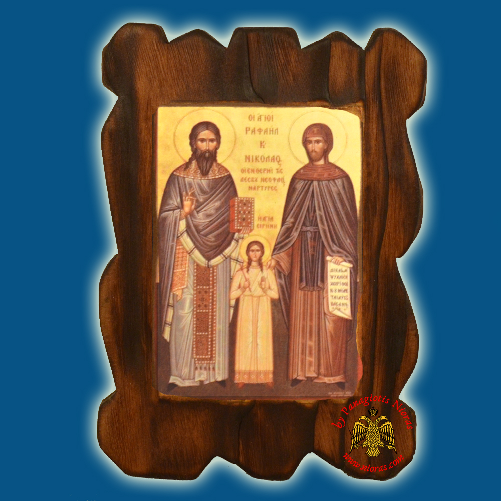 Orthodox Wooden Icon of Saint Rafail on Natural Wood With Burned Carved Details