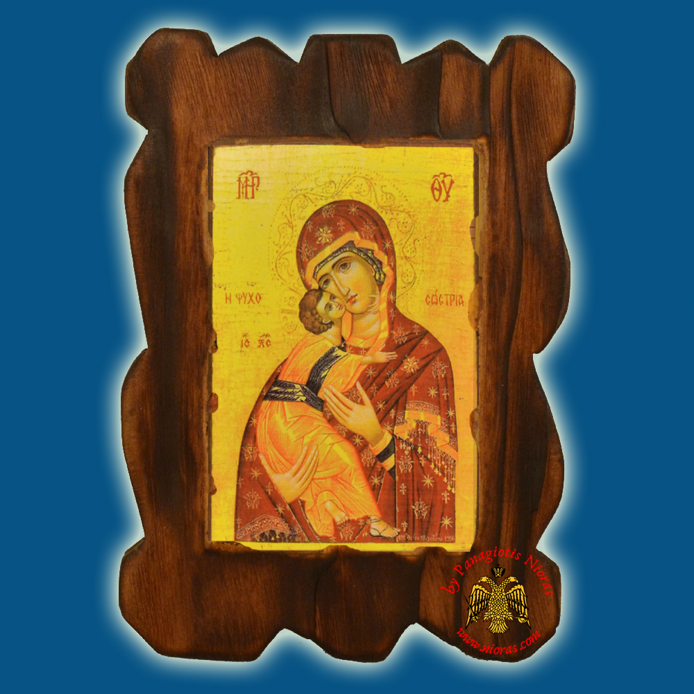 Orthodox Wooden Icon of Theotokos Psichosotria on Natural Wood With Burned Carved Details