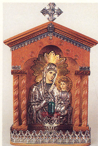 Traditional Orthodox Icon with Electric Lamp A' Wooden Coloured Silver Plated Decor