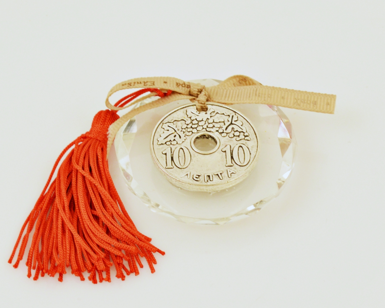 Lucky Charm 2019 Wish Ribbon Greek Old Coin on Round Crystal